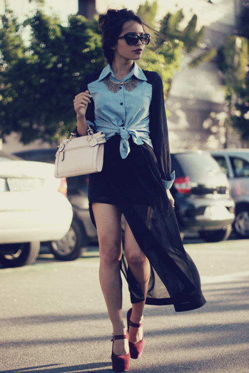 "fashionpassionates:  Get yours: DENIM CHIFFON SLEEVE SHIRT Shop FP | Fashion Passionates ""get your fashion fix with fashion passionates"