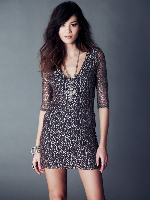 Nightcap Cheetah Lace Deep V Dress
