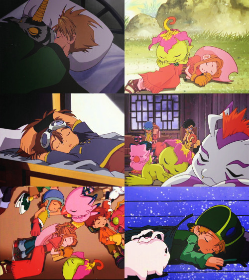 softmonkeychains:  kisswithatear:  Naptime (Digimon Adventure)  First pic is so cute (stop weird thoughts stop)  But the perverted weird thoughts are the best part!