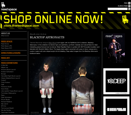 BLACKTOP ASTRONAUTS fall 2013 collection feat on REED space