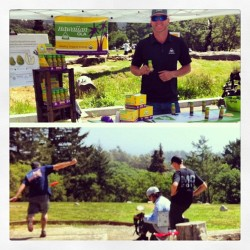 Great day for #discgolf; Hawaiian Ola is set up on the first tee—Chilled shots for caddies & players before they tee off. #countryclubstatus #summersports #organicenergy