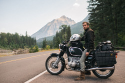 Myself and the R90 at Glacier MTN National Park.