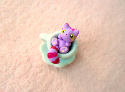 """Cheshire Cat in Tea Cup"" Miniature Sculpture by MijbilCreatures"