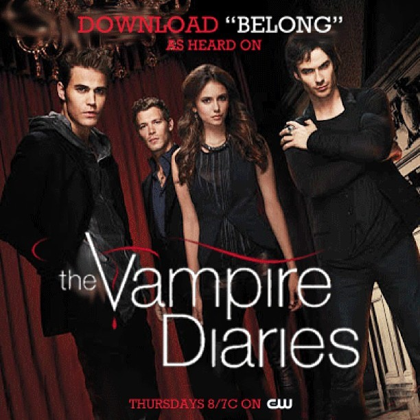 "my piano ballad ""belong"" is on the season finale of ""the vampire diaries"" tonight. my bet is that somebody's making out with somebody."