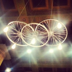I want light fixtures like this in my house! #TheLastBookStore #DTLA #Lights #Bicycle #Wheels #HistoricCore #Books #Recycle