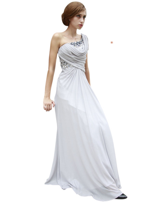GREY ONE SHOULDER RUCHED BODICE BRIDESMAID DRESS  SKU# 80536 Be the first to review this product Availability: In stock £175.00