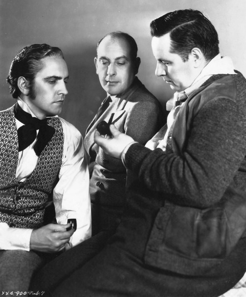 fredricmarch:  Original Caption: Fredric March and Cedric Hardwicke admire the pipe of Richard Boleslawski, director of Les Misérables.