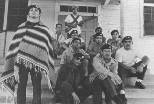 ankh-kush:  The Brown Berets are a revolutionary Mexican American group that formed in Los Angeles in 1966 during the Chicano Movement. They have been active community organizers ever since, struggling against racial profiling, inferior education/healthcare, and other issues faced in the barrios of America.  They have survived covert infiltrations by the FBI, LAPD, and ATF, being a target of COINTELPRO and other illegal government actions. They participated in Fred Hampton's Rainbow Coalition in Chicago along with the Black Panther Party and Young Lords Party. Although they have been known to have discredited the feminist struggle as secondary to liberation from racism and poverty, they played a significant role in serving their communities, educating the people, setting up free clinics, and holding direct action protests against police brutality. They were big supporters of the United Farm Workers movement, the Land Grants movement, and the Poor People's Campaign. They saw a resurgence in activity in the 90's after the passage of California's Proposition 187, which restricted education, healthcare and social services for undocumented immigrants