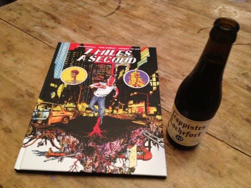 readingdrinking:  7 Miles a Second by David Wojnarowicz, James Romberger, and Marguerite Van Cook, with a Trappistes Rochefort 10. (May 15, 2013)  Delightful. Get the book here; you'll have to Google the booze.