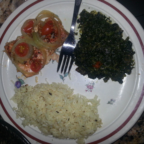 Yummm. #Dinner #healthy #salmon #spinach #jazmine #rice #icook