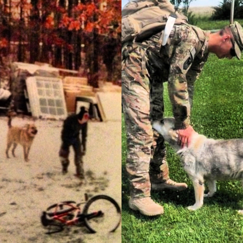 armedforceslove:  My husband and his childhood dog Frau. The picture on the left was when he came home on R&R she was super excited to see him but she was also very sick and older =( it was so sweet seeing her try to run up to him. This was the last time he got to see her, she passed a couple months later.