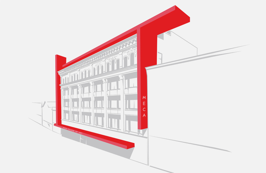 Signage concept for Maine College of Art. Bold red lines meant to frame the existing classic architecture of the school, bridging the new and old.