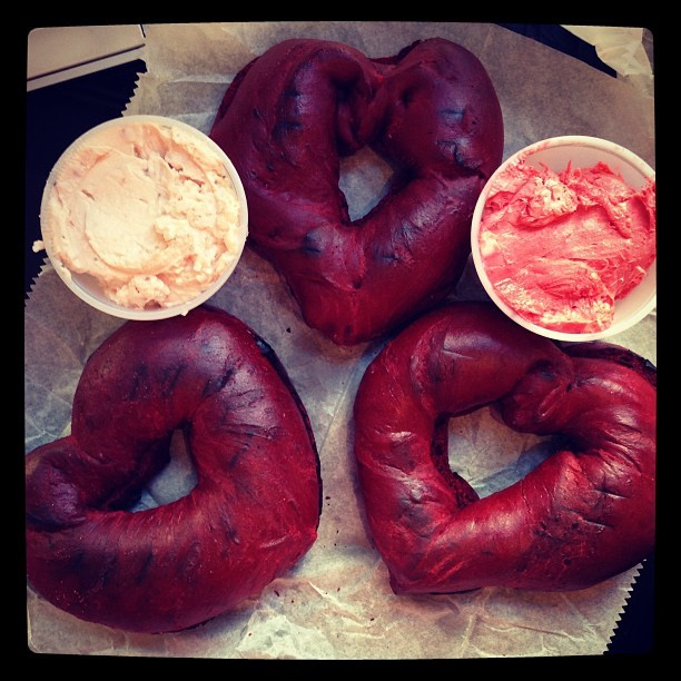 heart-shaped red velvet #bagels with red velvet and strawberry cream cheese. 💕❤💕 @thebagelstore