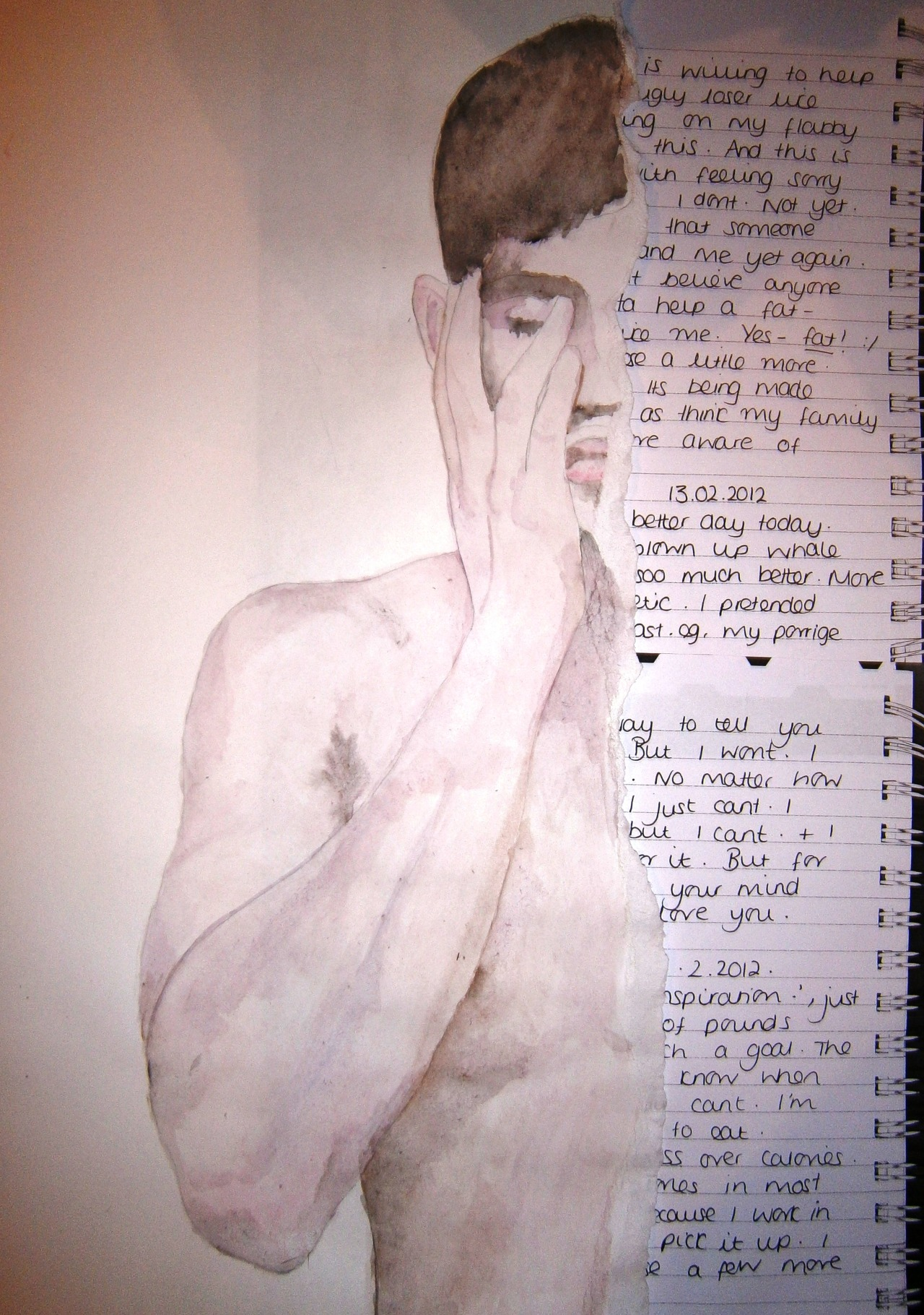 Beth Ransom Torn Boy 2013 watercolour and collaged diary entries  A3 insanityfactory.tumblr.com