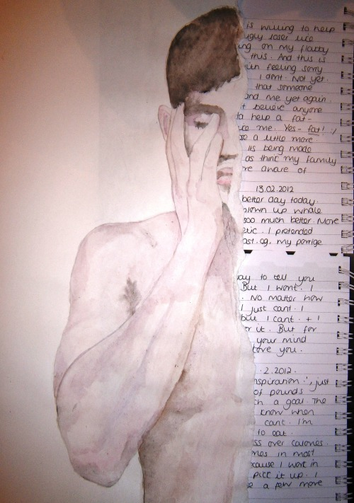 darksilenceinsuburbia:  Beth Ransom Torn Boy 2013 watercolour and collaged diary entries  A3 insanityfactory.tumblr.com
