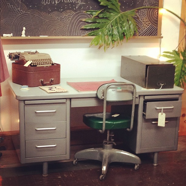 Industrial  tanker desk from Steelcase.  (at Moon and Arrow home of territory hard goods)