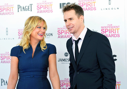 jjabramsed:   Amy Poehler and Sam Rockwell attend the 2013 Film Independent Spirit Awards at Santa Monica Beach on February 23, 2013 in Santa Monica, California.