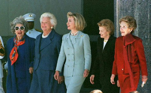 "vpbiden:  nancyreaganjudgesthings:  Mean First Ladies ""Of course all The First Ladies are at the same reception."" ""Who are The First Ladies?"" ""They're American royalty. If the White House was Vogue, they would always be on the cover."" ""That one there, that's Nancy Reagan. She is one of the most fashionable people you will ever meet. Cindy McCain sat next to her at the Republican National Convention last year, and Nancy told her she looked horrible in orange."" ""And that old one? That's Barbara Bush. She's totally rich because her husband discovered oil in Texas."" ""Lady Bird Johnson knows everybody's business. She knows everything about everyone. That's why her hair is so big - it's full of secrets!"" ""And evil takes a human form in Hillary Clinton. Don't be fooled, because she may seem like your typical selfish, back-stabbing, slut-faced ho-bag. But in reality, she is so much more than that. She's the Queen Bee. The star. Those other four are just her little workers. Hillary Clinton…how do I even begin to explain Hillary Clinton?"" ""Hillary Clinton is flawless.""  ""She's the most powerful woman in America, and she has a best-selling memoir.""  ""I hear her hair is insured for $10,000.""  ""I hear she negotiated a free trade agreement…with JAPAN.""  ""Her favorite movie is The Wizard of Oz.""  One time, she met Meryl Streep at the Kennedy Center. They exchanged phone numbers.  ""One time, she punched me in the face. It was awesome."""