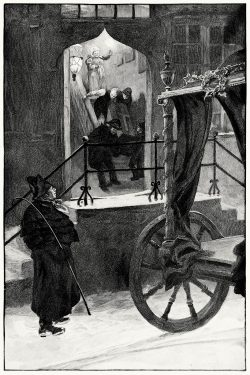 oldbookillustrations:  In the evening a carriage stopped at the door, into which they put the old man's coffin. Hans Tegner, from Andersenovy pohádky (Andersen's Fairy Tales) vol. 2, by Hans Christian Andersen, Prague, 1902. (Source: archive.org)