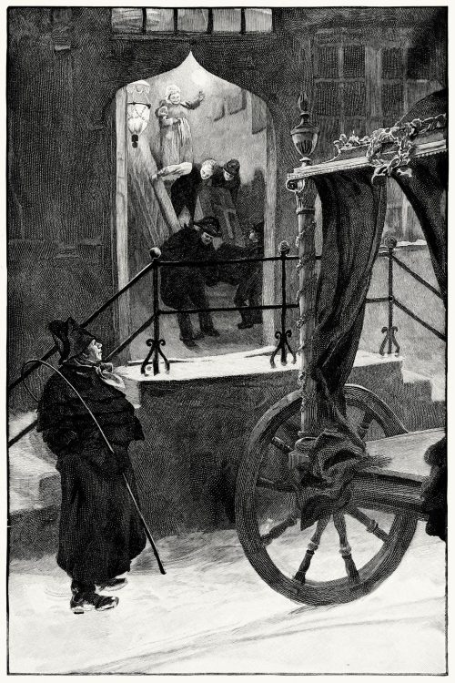 In the evening a carriage stopped at the door, into which they put the old man's coffin.  Hans Tegner, from Andersenovy pohádky (Andersen's Fairy Tales) vol. 2, by Hans Christian Andersen, Prague, 1902.  (Source: archive.org)