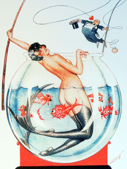 Mermaid Illustration by Vald'Es for La Vie Parisienne Magazine, 1926