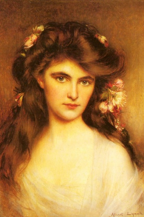 books0977:  A Young Beauty With Flowers In Her Hair. Albert Lynch (Peru, 1851–1912). Lynch specialised in painting female subjects to which he brought a charming elegance and sophistication typical of such belle epoque paintings. He provided illustrations for two books, 'La Dame aux Camelias' by Dumas fils and 'La Parisienne' by Henry Becque.