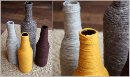 DIY: Yarn Wrapped Glass Bottles click here to see how
