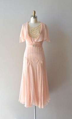 silk 1920s dress / vintage 20s dress / Doucement silk chiffon dress