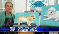 "sadurday:  extracake:  ""George Bush has painted over 50 puppies""  i still cant hate this dude look how happy he is wtf he just takes painting lessons and chills its not his fault he had to lead a country  Pretty good paintings lol"