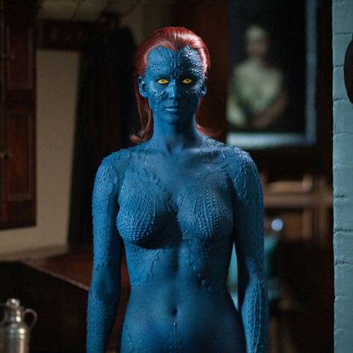Jennifer Lawrence talks Mystique bodysuit Jennifer Lawrence has revealed that she'll be dispensing with the blue bodypaint in favour of a bodysuit when filming her scenes as Mystique in X-Men: Days Of Future Past…