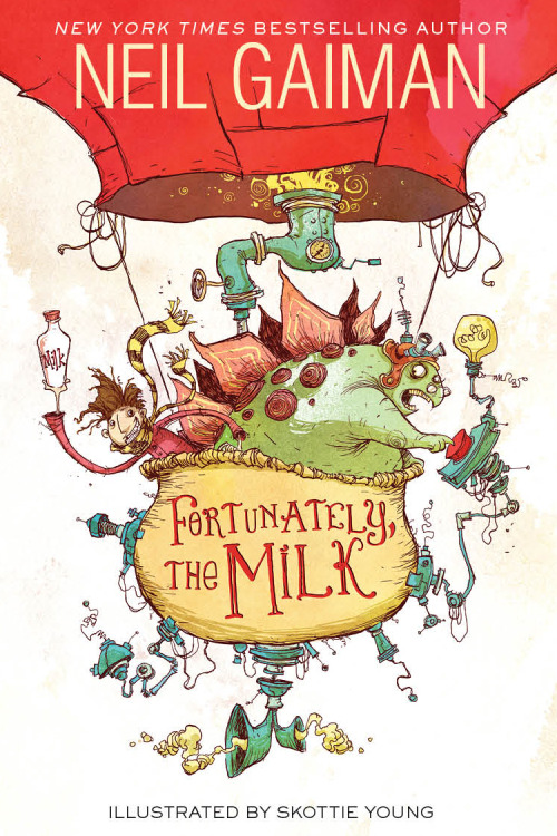The cover for FORTUNATELY, THE MILK by @NeilHimself and illustrated by Me. More info on Neil's blog
