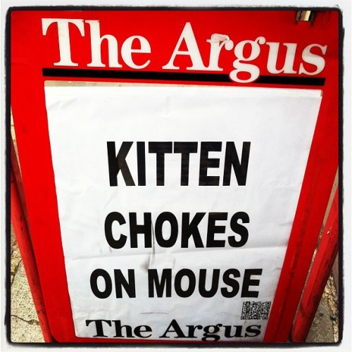 yetanother1:  The Argus….. Keeping us informed with the important stuff……… (at St Peters Church)  Our local Brighton paper. Welcome to the real news, bitches.
