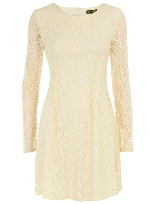 Cream Long Sleeve Lace Dress by Dorothy Perkins