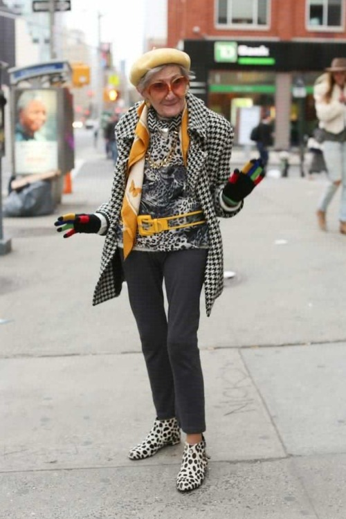 "tehblackbirdincardigans:  raggedy-andy:  humansofnewyork:  ""Put me on the internet! Even on The Google!""  I really hope when I am older I will be half as fabulous as this lady. I mean look at the accessorising going on here! The gloves, that hat, the pops of yellow and do not even get me started on the shoes. <3  ^^^"