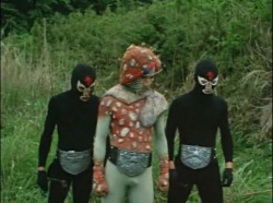 So I'm watching the original Kamen Rider. Some of these mutants could use a dance-belt. Or some shorts. I'm saying we can all see your mutant dick, dude.