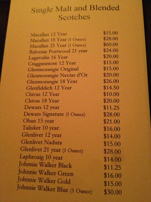 At Ruth's Chris for a company dinner.  They have an Oban 15!  Must be the shit.    You would think that a chain steakhouse would both know their selection and be able to spell Nadurra.