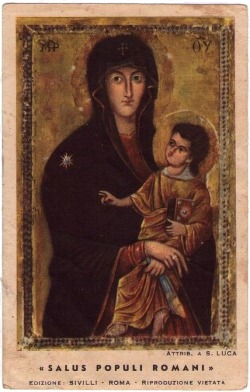 allaboutmary:  Salus Populi Romani The icon of Mary venerated in the basilica of Santa Maria Maggiore in Rome. Earlier today the newly elected bishop of Rome, pope Francis, went to pray tribute to the Madonna, whose official title is Health of the Roman People.