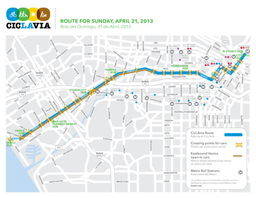 Weekend Plans: CicLAvia April 21 From downtown LA to Venice Beach. No Cars, just bikes, and sunshine!