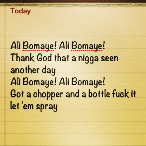 Ali Bomaye!!! 🎶💪💃#music #alibomaye #thegame #lyrics #JesusPiece #album #hiphop #2chainz #rickross