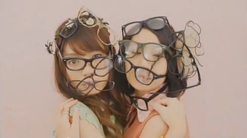 "BAND JA NAI MON (バンドじゃないもん) Video-still from ""Chocolate Love""   Glasses are pretty cool, right? So 'More Glasses' = 'More Cool', right? Seems legit. Checks out. Carry on, Japan."
