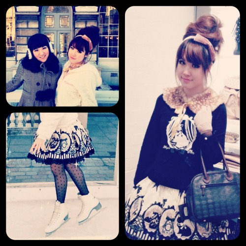 Ice skating with Reina! Wore my new AP Cinema Doll skirt! <3