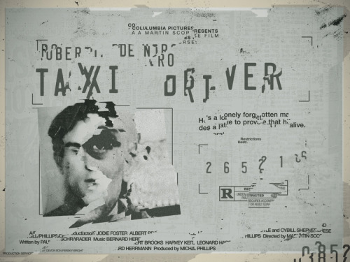 Unused Taxi Driver poster made months ago for SpokeArt's Scorsese tribute show. The decaying mental state of a New York cabbie seen through his operator's license.
