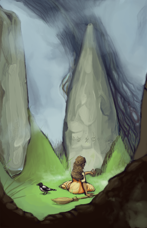 More school stuff—character illustration. Doing scenery became oddly soothing by the end of this. Much happier with the oh, the colour depth (?) in this one than what showed in the final print. But that's printing for you.