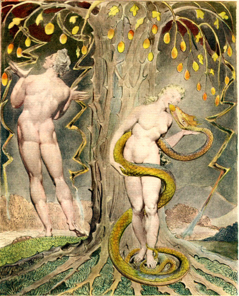 unapologetic-book:  William Blake, 'The Temptation and Fall of Eve' (1808), an illustration to Paradise Lost.