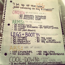 summerskinny25:  skinnymakesyoupretty:  For those at the gym  this is PERFECT!!! i think i'm gonna make this my January gym worksheet :)