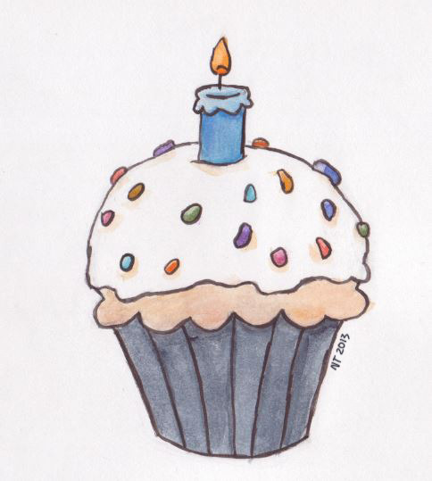 Birthday cupcake from a card I made for my grandfather.