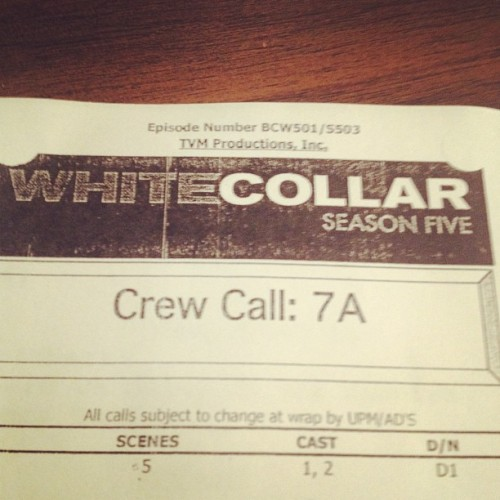 "@TimDeKay First ""call sheet"" for season five of @WhiteCollarUSA ! http://instagram.com/p/ZIaakAThpQ/"