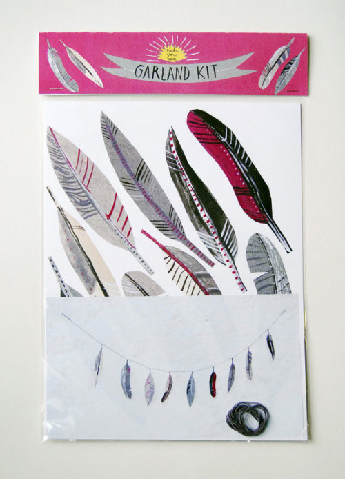 Illustrated natural feather garland kit by kayeblegvad on Etsy