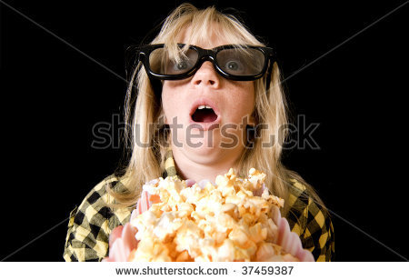 Title: Terrified Girl Wearing New Style 3-D Glasses in a Movie Theater Searched for: kid watching TV