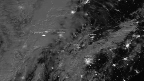 Lightning flash from severe thunderstorm seen from space      Lightning flash was outgrowth of a line of severe thunderstorms and tornadoes that swept the Eastern and Midwest U.S.